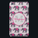 "Gray Hot Pink Elephants on pink polka dots, name iPod Touch Cover<br><div class=""desc"">Gray Hot Pink Elephants on pink polka dots, name Custom personalized, named, Pretty Girly, Gray Hot Pink Elephants on pink polka dots background. These bright vivid colors elephants are walking across the design in a line. This Cute Pretty Elephants with hot pink Hearts is on their riding blanket on a...</div>"