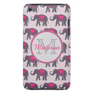 Gray Hot Pink Elephants on pink polka dots, name iPod Touch Cover