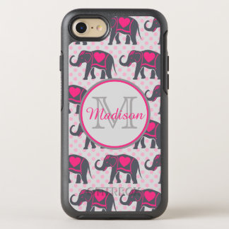 Gray Hot Pink Elephants on pink polka dots, name OtterBox Symmetry iPhone 7 Case