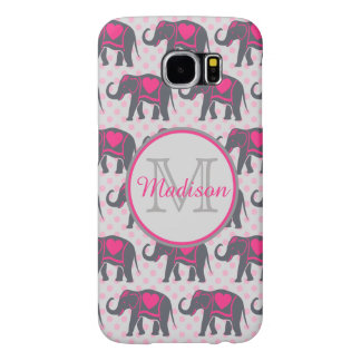 Gray Hot Pink Elephants on pink polka dots, name Samsung Galaxy S6 Case