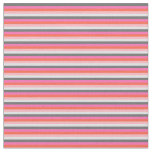 [ Thumbnail: Gray, Hot Pink, Red, Light Pink & Lavender Stripes Fabric ]