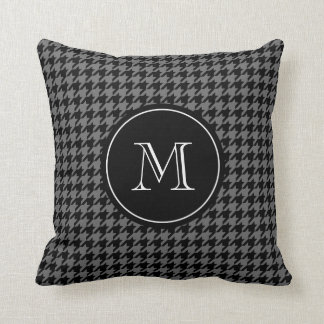 Gray houndstooth pattern monogram throw pillow