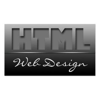 Gray HTML Web Design Sleek Business Cards