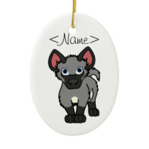 Gray Hyena Cub Ceramic Ornament