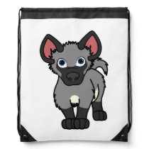 Gray Hyena Cub Drawstring Backpack