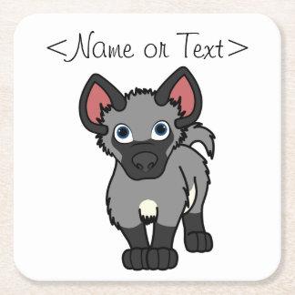 Gray Hyena Cub Square Paper Coaster