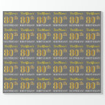 "[ Thumbnail: Gray, Imitation Gold Look ""80th Birthday"" Wrapping Paper ]"