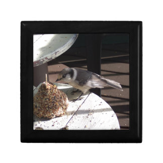 Gray Jay and Bell Ceramic Tile Jewelry Box