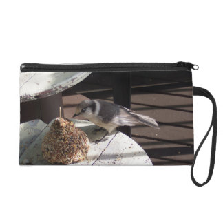 Gray Jay and Bell Wristlet