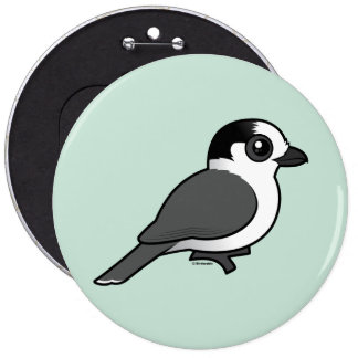 Gray Jay 6 Inch Round Button