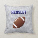 Gray Jersey Football Throw Pillow