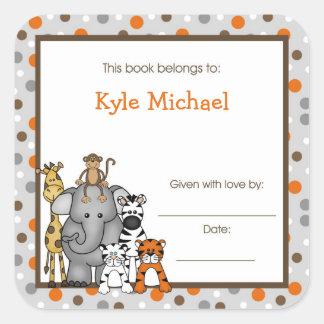 Gray Jungle Animals Book Plate bookplate label Square Sticker