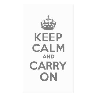 Gray Keep Calm and Carry On Business Cards