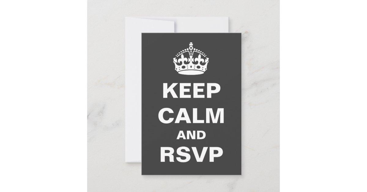 gray keep calm wedding rsvp