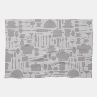 Gray Kitchen Gadget Print Towels
