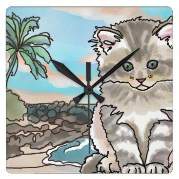 Hawaiian Themed Gray Kitten at a Hawaii Beach Square Wall Clock