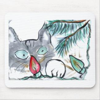 Gray Kitten eyes Christmas Tree lights Mouse Pad