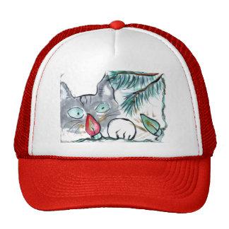 Gray Kitten eyes  Christmas Tree lights Trucker Hat
