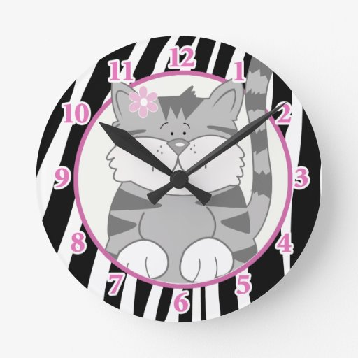 Gray Kitten Wall Clock with Zebra Stripe