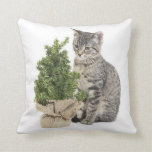 Gray Kitty Green Tree Throw Pillow