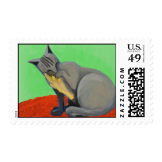 Gray Kitty Postage Stamp