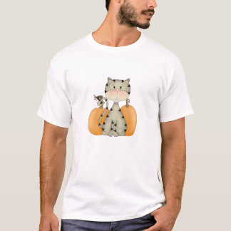 Gray Kitty w/ Pumpkins T-Shirt