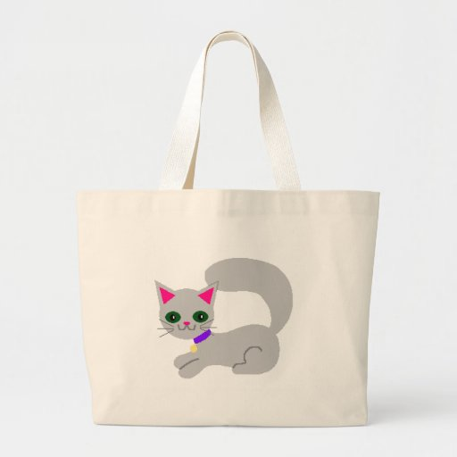 Gray kitty with green eyes and purple collar tote bag