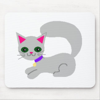 Gray kitty with green eyes and purple collar mouse pad