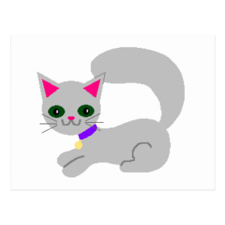 Gray kitty with green eyes and purple collar postcard