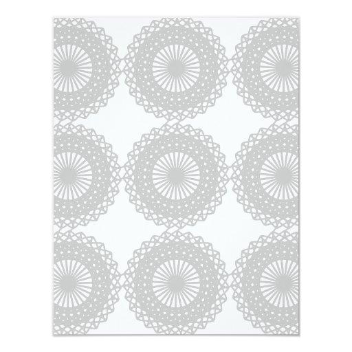 Gray Lace Design Pattern. 4.25x5.5 Paper Invitation Card