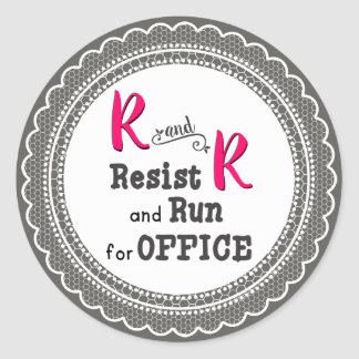 Gray Lace Resist and Run for Office Classic Round Sticker