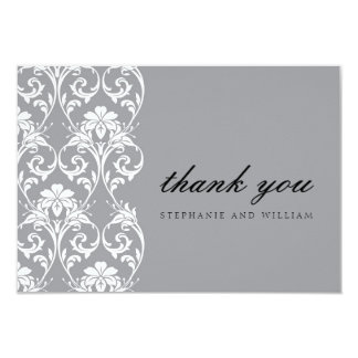 Gray Lace Wedding Thank You Card