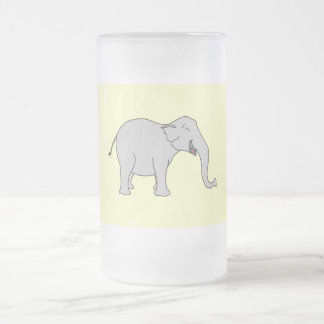 Gray Laughing Elephant. Cartoon. Frosted Glass Beer Mug