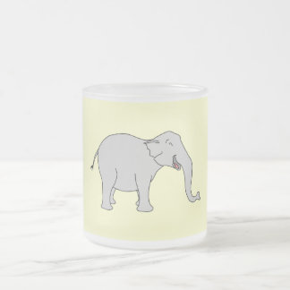 Gray Laughing Elephant. Cartoon. Frosted Glass Coffee Mug