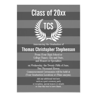 Gray Laurel Custom High School College Graduation Card