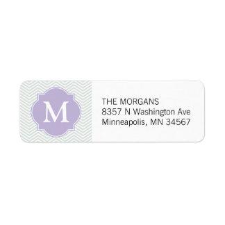 Gray & Lavender Modern Chevron Custom Monogram Label