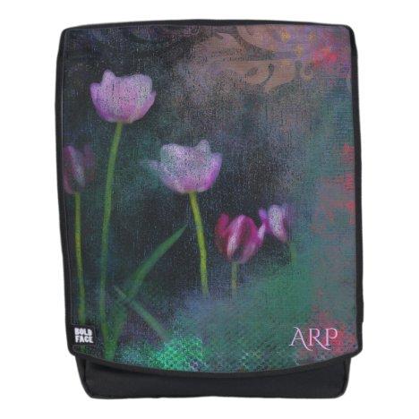 *~* Gray Lavender Pink Tulip Grunge Vintage Shabby Backpack