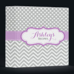 """Gray Lavender Polka Dots Chevron Recipe Binder<br><div class=""""desc"""">A cute and girly personalized recipe binder with a lavender purple,  light gray and white polka dots and chevron pattern design. A pretty and trendy custom kitchen binder.</div>"""