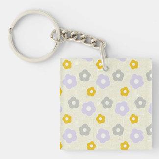 Gray lavender purple yellow flowers keychain