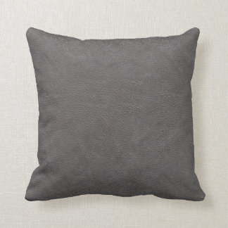 Gray Leather look (mock leather) Fabric Pillow