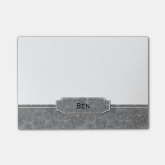 Gray Leather Look Monogram Post-it® Notes