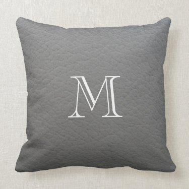 Gray leather texture monogram throw pillow