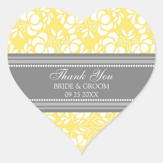 Gray Lemon Damask Thank You Wedding Favor Tags
