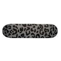 Gray Leopard Animal Print Skateboard Deck