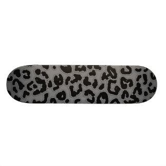 Gray Leopard Animal Print Skateboard Deck