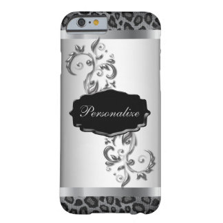 Gray Leopard Animal Print with Metallic Accents Barely There iPhone 6 Case