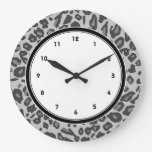Gray leopard print clocks