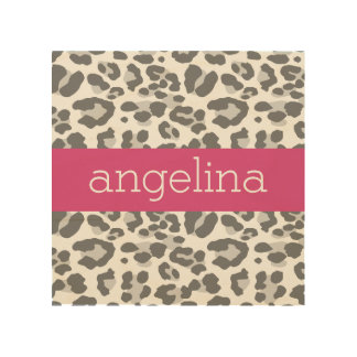 Gray Leopard Print Pattern with Pink Name