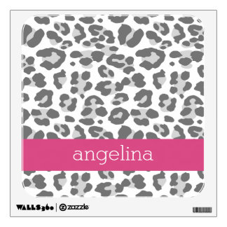Gray Leopard Print Pattern with Pink Name Wall Sticker