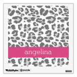 Gray Leopard Print Pattern with Pink Name Wall Decals